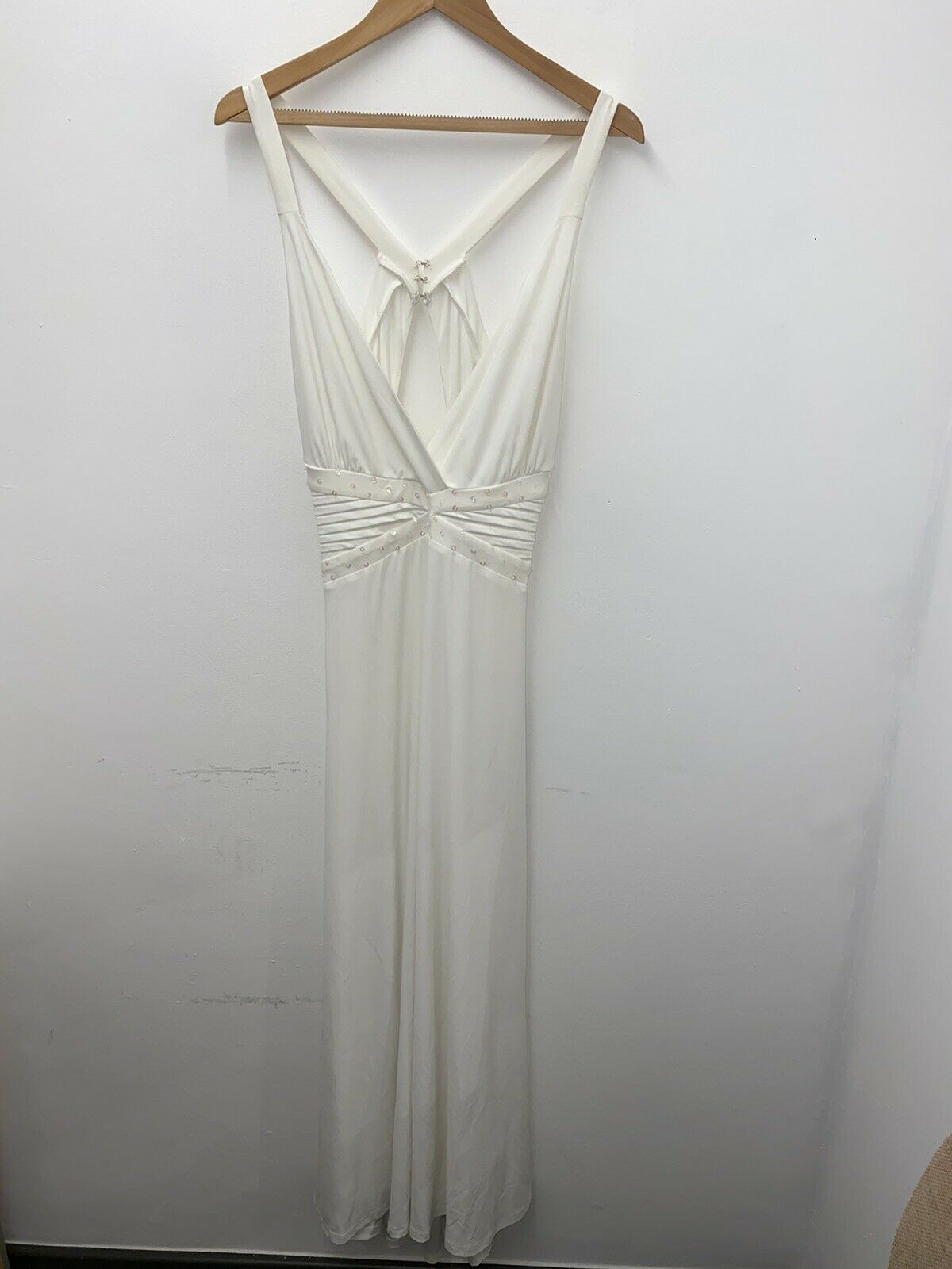 Ever Pretty White Maxi Open Back Low Plunge Neck Grecian Style Dress Size 18 #25