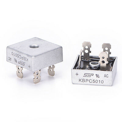 2PCS  KBPC5010 50A 1000V Metal Case Single Phases Diode Bridge Rectifier UZ