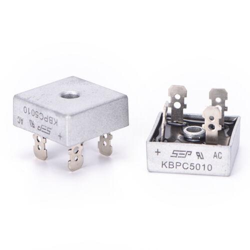 2x KBPC5010 50A 1000 V Metallgehäuse Einzelphasen Diode Brückengleichrichter M0