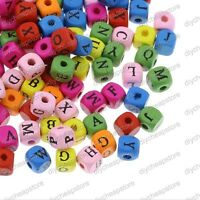 100pcs Alphabet Letter Beads Wooden Assorted Colour Cube 10mm Jewellery Making