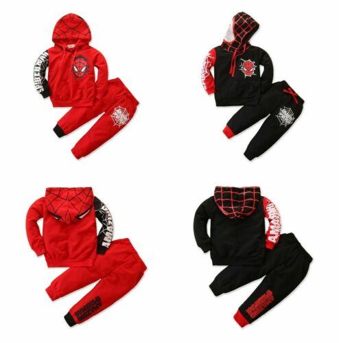 2Pcs Children Kids Boys Hoodies Clothing Sets Spiderman Print Outfits Tops+Pants