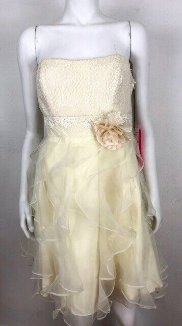 NWT Betsey Johnson damen Sz 8 Cream Tulle Strapless Cocktail Party Dress