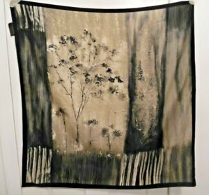 TERRIART-Gray-Various-Vertical-Patterns-Tree-Etches-34-034-Square-Scarf-Vintage
