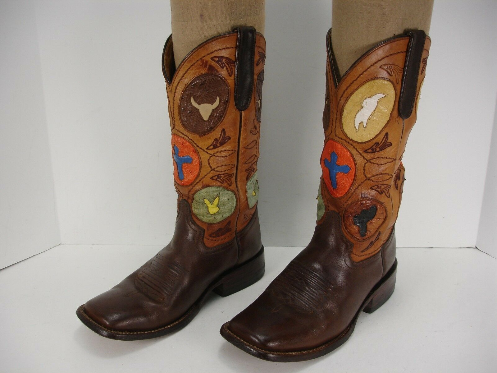 FERRINI BROWN LEATHER OSTRICH INLAY WOMEN'S TRIM COWBOY WESTERN BOOTS WOMEN'S INLAY 7.5 B fcbce3