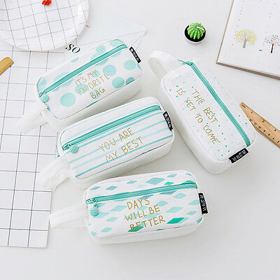 Large Capacity Canvas Pencil Case Pen Box Pouch Stationery Makeup Cosmetic Bag