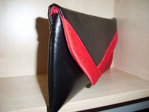 Handmade in UK RED /& BLACK asymmetrical colour block faux leather clutch bag