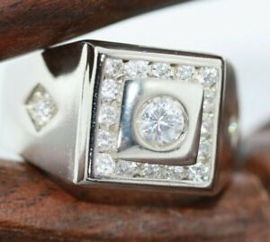 New-Sterling-Silver-Modernist-Radiant-Men-039-s-CZ-Solid-925-Gents-Ring-Band-Sz-11