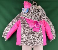 Children's Place Toddler Animal Print 3-in-1 Jacket Cloud 3t Hat Mittens