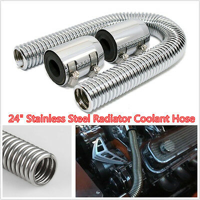 24 Inch Stainless Steel Radiator Hose Automobile Universal Flexible Coolant Water Hose Kit with Caps Universal