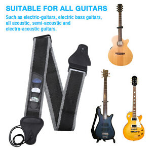 Guitar-Strap-Nylon-Pick-Holder-with-3-Picks-for-Electric-Acoustic-Guitar-Black