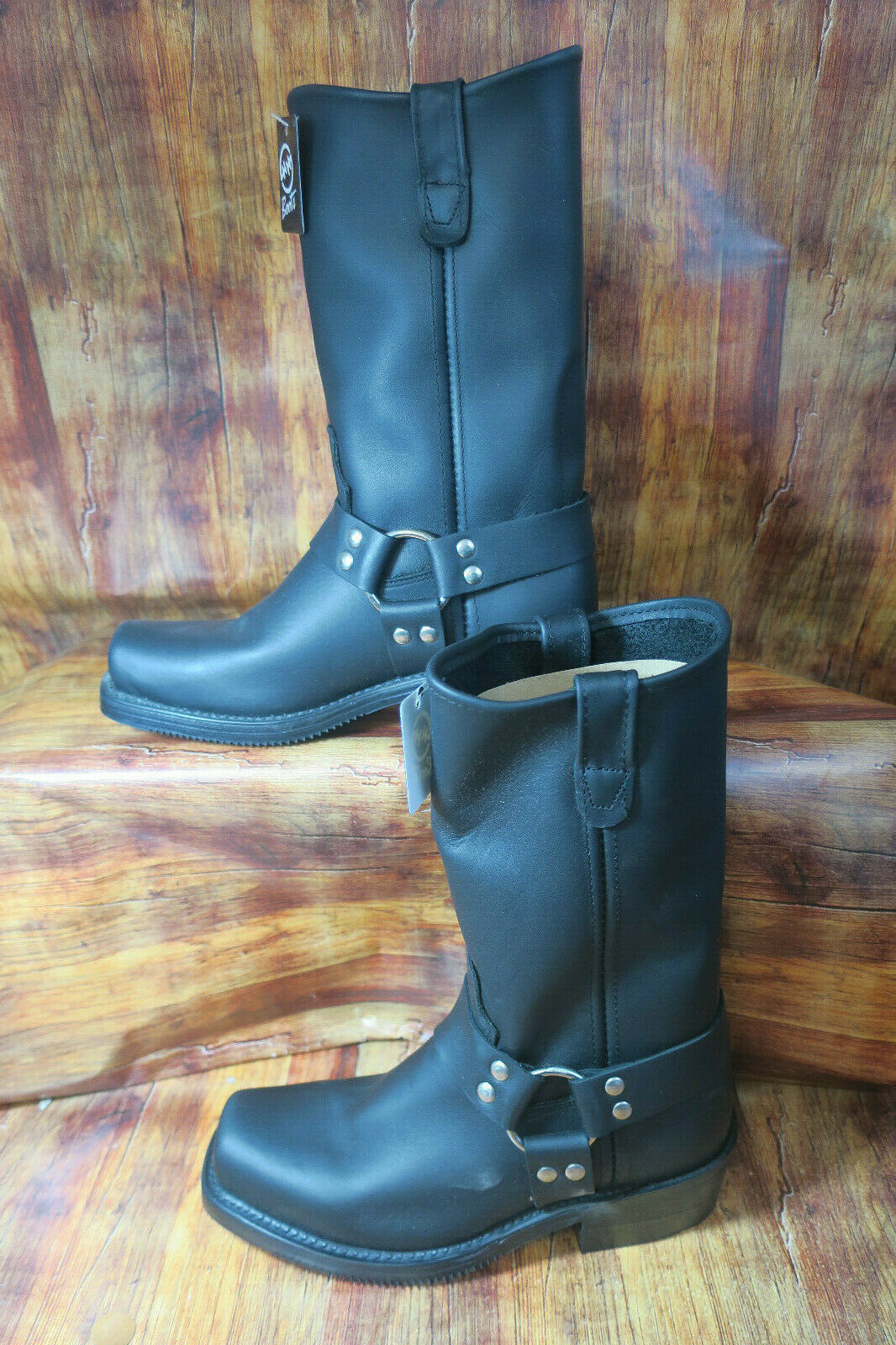 HH DOUBLE H 4008 Men's 6 Black Domestic Harness Motorcycle Square Toe Boots 1325
