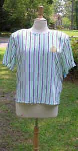 Women-039-s-Blouse-Striped-PETITE-12-Gold-Stitched-Emblem-w-shoulder-pads-T32