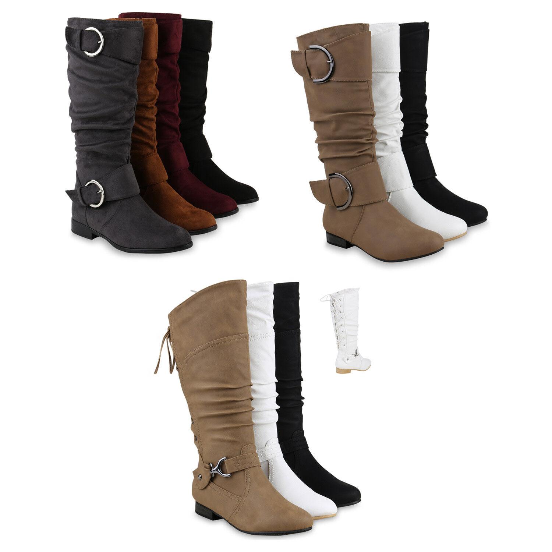Klassische Stiefel Damen Nieten Schnallen Lederoptik 812526 Schuhe