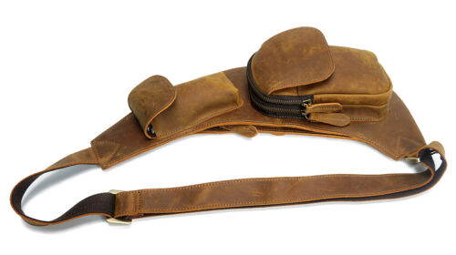 Mens Hunter Tan Leather Cross Body Holster Sling Chest Bag Front Pack Pouch Bag