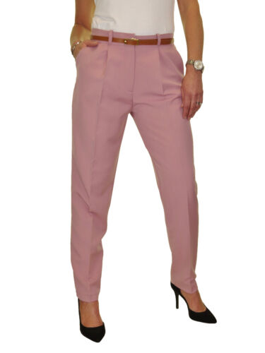 Tapered Leg Smart Soft City Trousers FREE Belt NEW Size 8-22