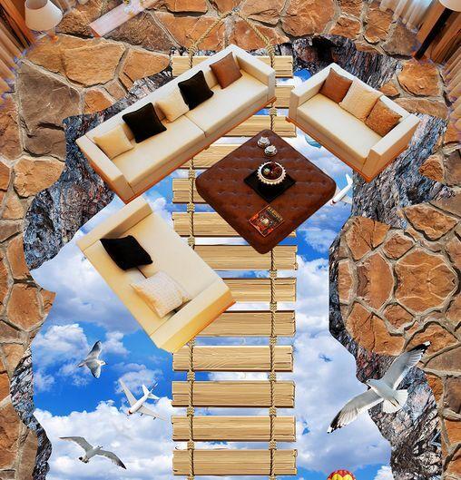 3D ponte cielo uccello Pavimento Foto Wallpaper Murales Muro Stampa Decalcomania