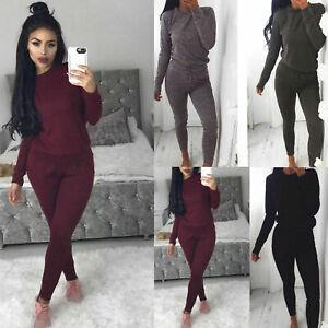 New-Ladies-Women-039-s-Sweatshirt-Joggers-Plain-Lounge-Wear-Tracksuit-Size-UK-8-26