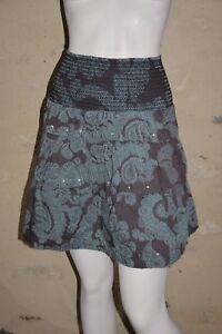 ROXY-Taille-XS-34-Superbe-jupe-marron-et-bleue-en-coton-skirt