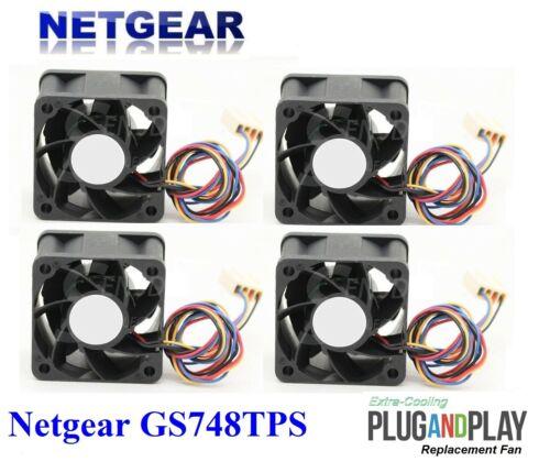 4x New Quiet replacement fans Netgear GS748TPS Smart Gigabit Ethernet Switch