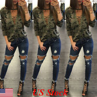 US Women Blouse Lace up V Neck Fashion Casual Loose Long Sleeve T-Shirt Top New