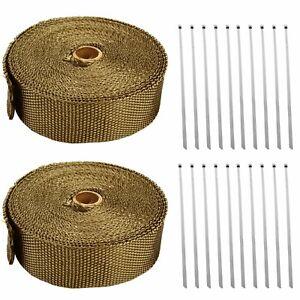 2-Rolls-x-Titanium-Lava-Header-Manifold-Exhaust-Heat-Wrap-Tape-20-Ties-2-034-X-50ft