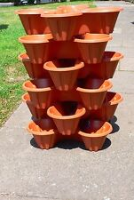 Set of 6 X QUAD POTS PLANTER, BEAUTIFUL TERRACOTTA PLASTIC PLANT POTS