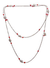 Sublime Rustic Chrome/ Ruby Red Crystal Beads Long Metal Necklace(Zx179)