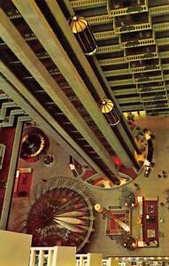 ATLANTA-GA-Georgia-REGENCY-HYATT-HOUSE-Atrium-Glass-Elevators-Chrome-Postcard
