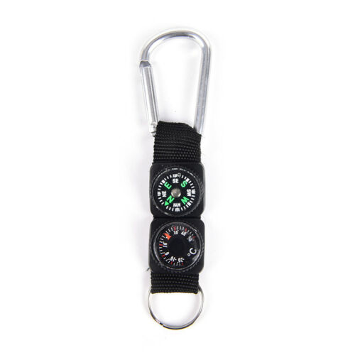 3 in 1 Multifunction Camping Hiking Carabiners w// Keychains Compass Thermometer
