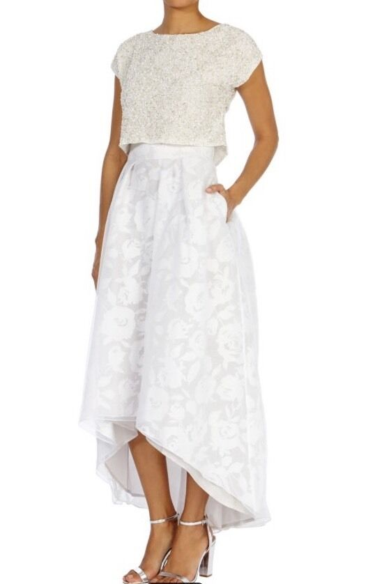 BNWT Coast Size 16 Petite BLISS PEARL PRINTED ORGANZA SKIRT Wedding Prom New