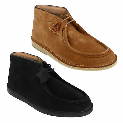 HUSH PUPPIES HANCOCK HIGH MENS LACE UP BLACK TAN CASUAL LEATHER ANKLE BOOTS