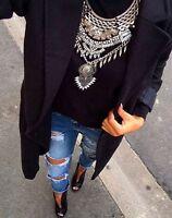Stunning Zara Silver Oversized Gypsy Tribal Bohemian Silver Statement Necklace
