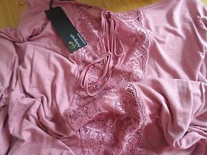 aa39cd9f3ce M S ROSIE FOR AUTOGRAPH Lace Back Lounge Top Size 16.........