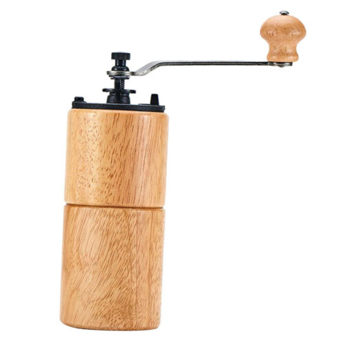 Wood Manual Coffee Grinder with Cast Iron Conical Burr Mill Beige