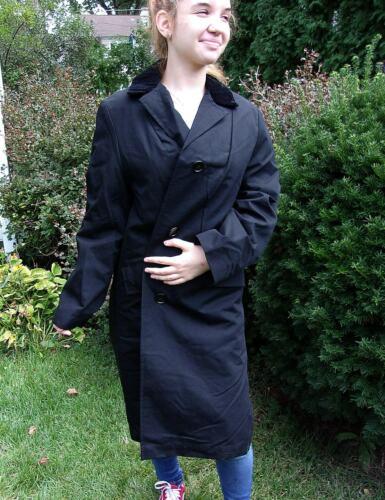1960s Aldens Zip Fur Liner Full Length Black Coat