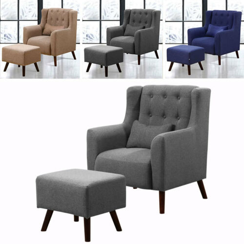 Large Tub Chair Armchair Bedroom Relaxing Accent Chair and Matching Footstool Dark Blue,Coffee,Dark Grey