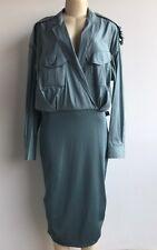 NWOT $1065.00 Max Mara Italy Silk/Cotton Knit Bottom Military Shirt Dress Sz 14