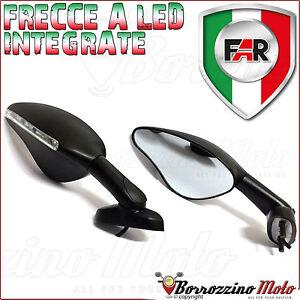FAR-COPPIA-SPECCHI-NERI-RETROVISORE-MOTO-UNIVERSALI-CARENATE-FRECCE-A-LED