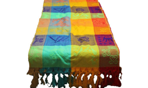Table Runner Mexican Mayan Colorful Engraved Designs Lightweight 14 x 66 Inches