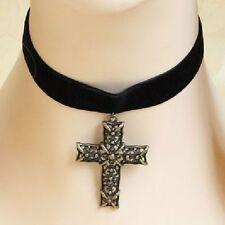 Gothic Collier großes Kreuz Choker Kette Tracht Halskette Schwarz Kropfband NEU