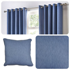 Fusion-SORBONNE-Denim-Blue-100-Cotton-Eyelet-Curtain-Cushions