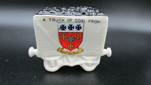 Antique-Crested-China-Railway-Coal-Wagon-model-Shanklin-I-O-W-Arcadian-China