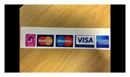 tà 3 x 180 x 30 mm carta di debito di credito con logo accettazione Adesivo Negozio Hotel Taxi Q