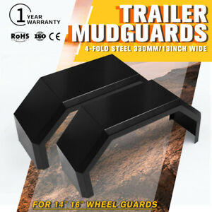 Trailer-Steel-Mudguards-Black-4x4-Ute-Mud-Guards-13-inch-Wide-For-14-034-16-034-Wheel