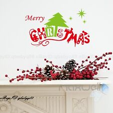 Red Christmas Green Tree Wall quote Decals Removable Stickers Decor Art Mural
