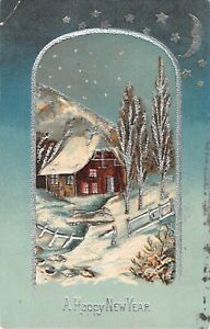 Silvered-Crescent-Moon-amp-Stars-Above-Snowy-Home-Scene-1909-New-Year-PC-No-263
