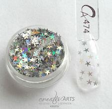 Nail Art Glitter *HOLOGRAMM STERNE* silver stars in Dose  NEU NUR BEI UNS !