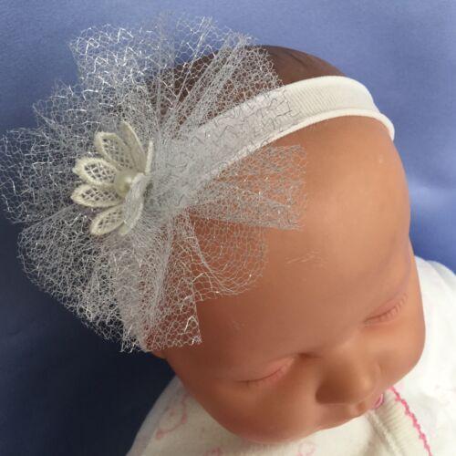 Star Flower//Pearl Party Baby Girl Pretty Silver Christening Headband Headdress