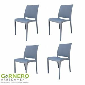 Set 4 sedie TAPE polipropilene grigio, design moderno, casa/giardino ...