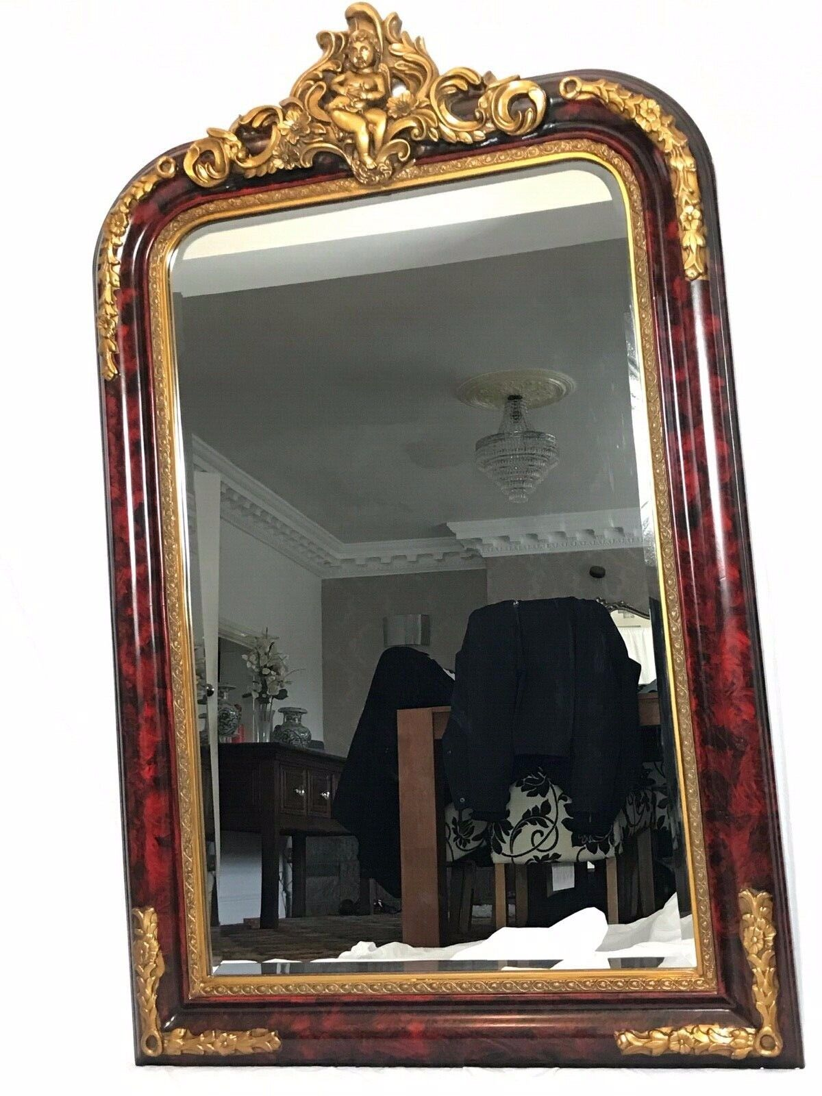 Large French Empire Boulle Style Gilt Cherub Acanthus Floral Pier Beveled Mirror
